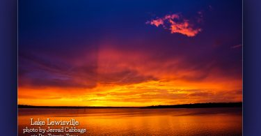 Lake Lewisville at sunset by Jerrad Cabbage